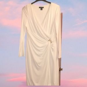Ralph Lauren Off White Faux Wrap Dress Stretch 14